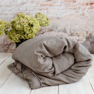 linen children's duvet cover nature black