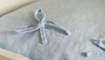 children's bedding white blue bows