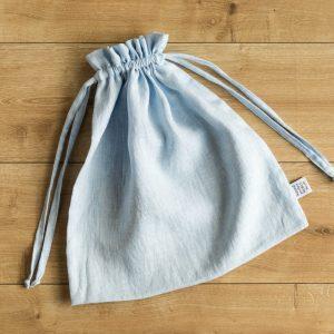 linen bag white blue
