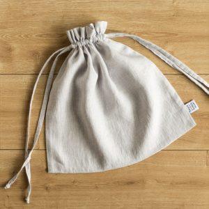linen bag white grey