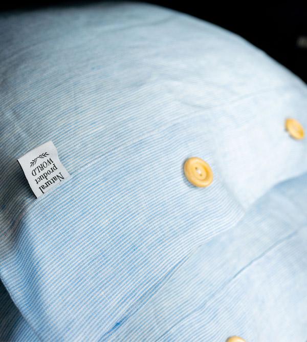 pillowcase white blue linen