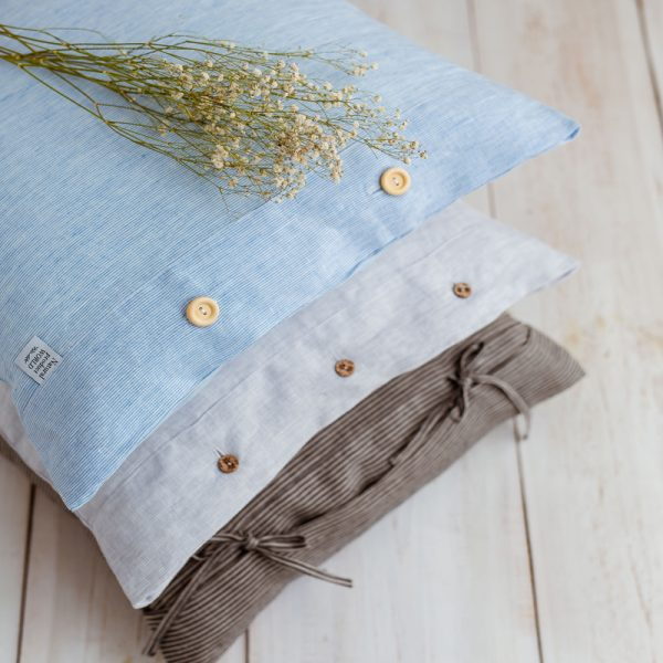 pillowcase white blue made-to-measure natural