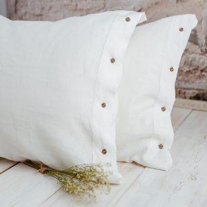 100 % linen pillowcase white