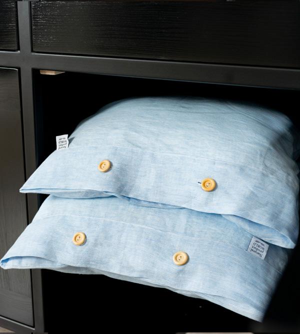 pillowcase white blue handmade in EU