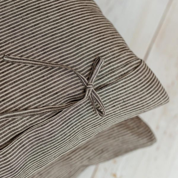 linen Pillowcase nature black with bows