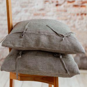 linen Pillowcase nature black