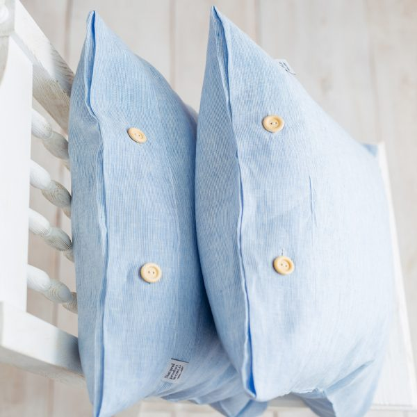 pillowcase white blue handmade