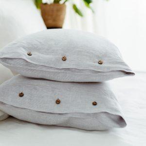 pillowcase white grey handmade