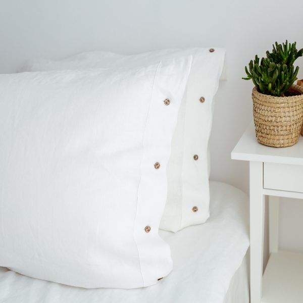 natural pillowcase white buttons