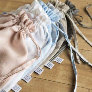 handmade linen bag white