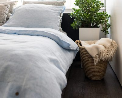 bedding with stripes